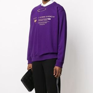 GIVENCHY Logo Print Sweatshirt with Safety Pin